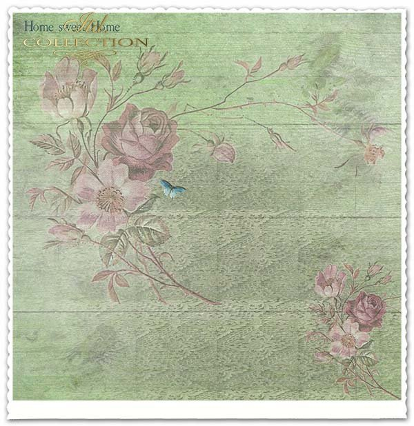 papier do scrapbookingu, niebieskie deski, róże, kwiaty*Scrapbooking paper, blue boards, roses, flowers