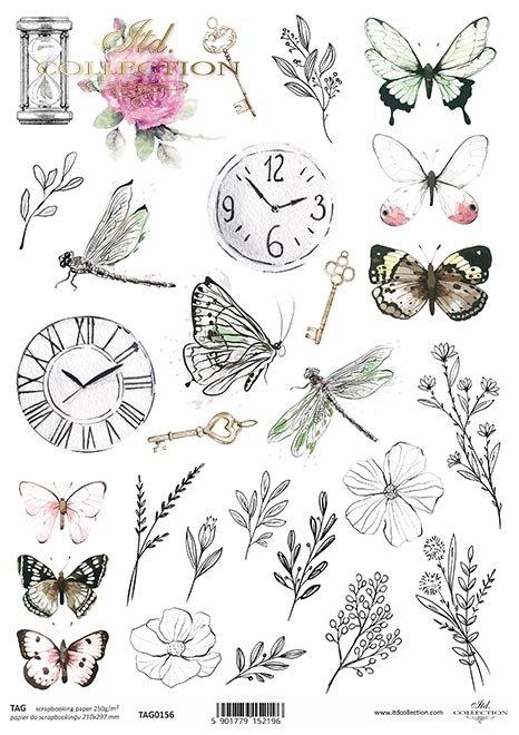 rośliny, motyle, ważki, zegar, gałązki, klucze, róże, klepsydra, drobne elementy, tagi