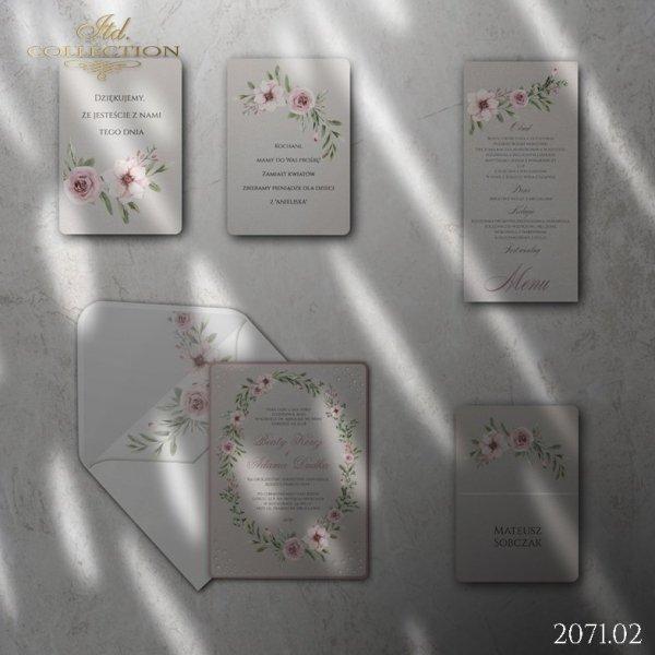 Zaproszenie 2071*Zaproszenia ślubne * menu * winietka * koperta z wklejką - wersja 2