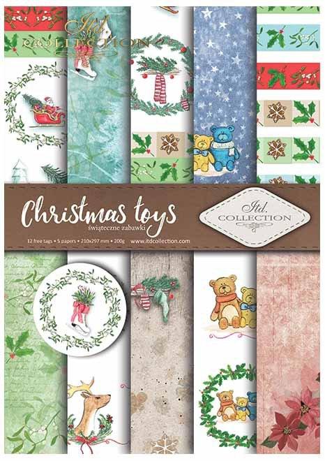 Papiery do scrapbookingu w zestawach - świąteczne zabawki * Scrapbooking papers in sets - Christmas toys