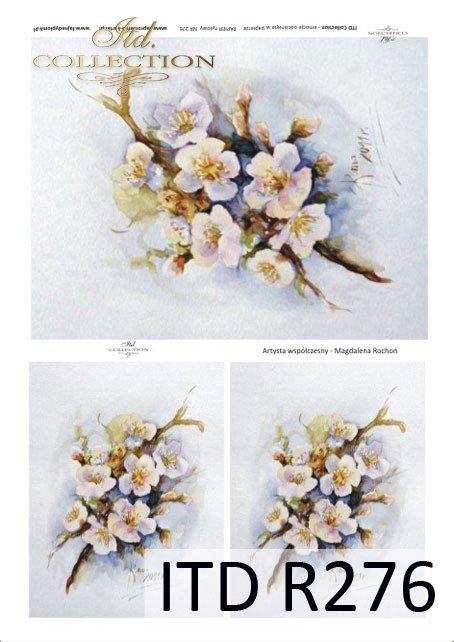 kwiaty, kwitnące gałązki, owocowe drzewko, wiosna, artysta współczesny, Magdalena Rochoń, R276