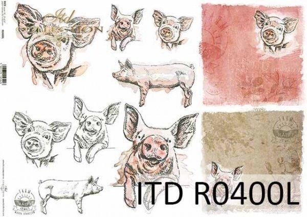 R0400L * świnie, świnki, świńskie głowy, świńskie ryjki, napisy 'happy farm'