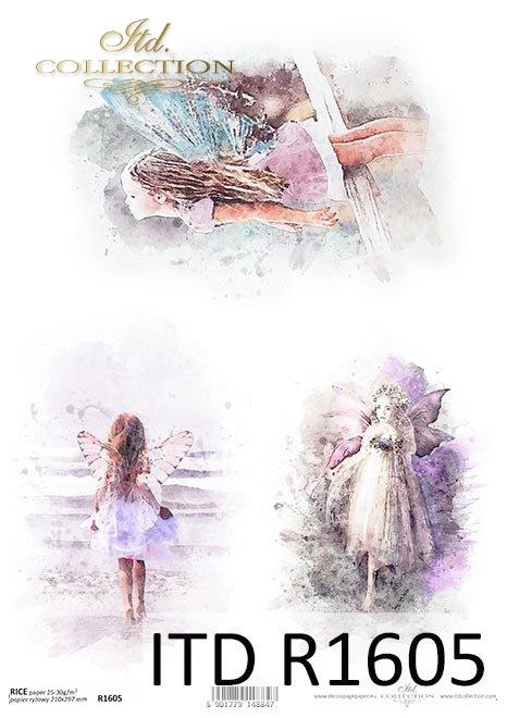 Acuarelas, niña con alas de elfo, ángeles*Aquarelle, Mädchen mit Elfenflügeln, Engel*Акварели, девушка с эльфийскими крыльями, ангелы