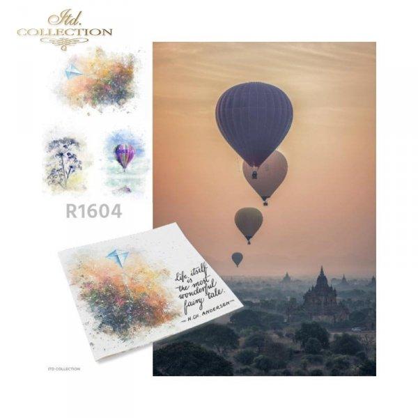 Akwarele, latawiec, balon, koper, letnie kolory*Watercolors, kite, balloon, dill, summer colors