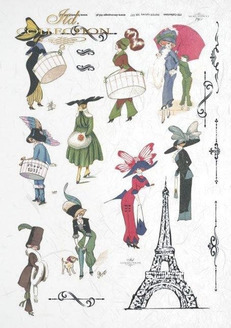 Eiffel Tower, fashion, Paris, old France, vintage, hat, joke, flowers, R337