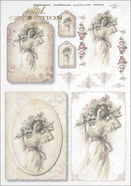 vintage, retro, woman, dress, flowers, floral decorations, medallion, board, romance, R362