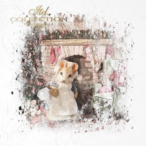 Zestaw papierów ryżowych ITD - RSM028 * myszka, myszki, myszka przy choince, myszka przy kominku, świąteczna myszka, święta z myszkami