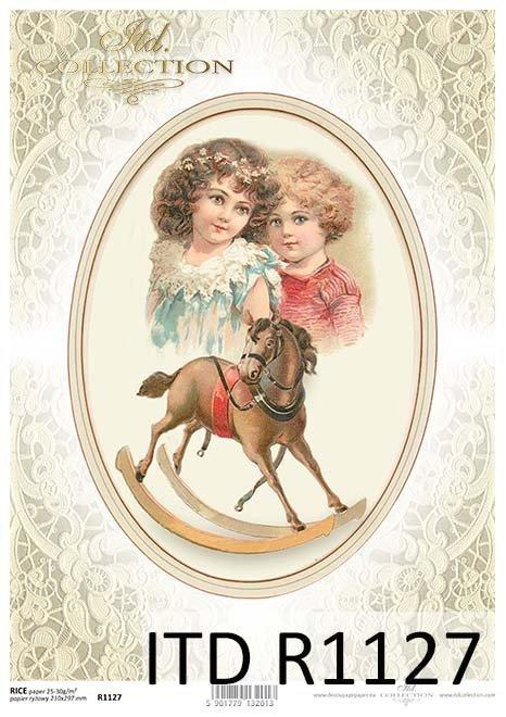 papier decoupage koń na biegunach, koronka, ozdobny owal*Paper decoupage horse on the rock, lace, ornate oval