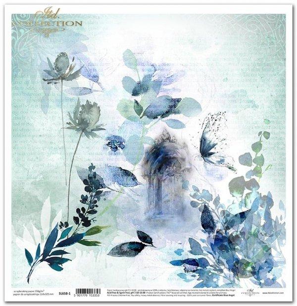 Seria Sekrety - Dolina Elfów. Niebieskie akwarelowe kwiaty, drzwi, opis lasu czcionką elficką