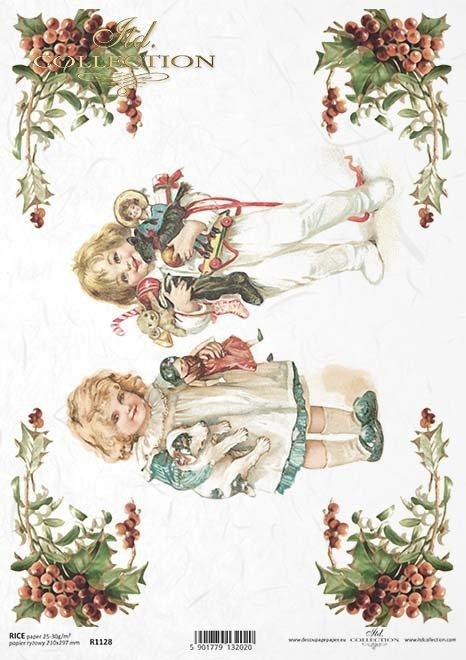 Papír decoupage vánoční dárky, děti, ...*papel decoupage navidad, niños, regalos ...*Papier Decoupage Weihnachten, Kinder, Geschenke ...