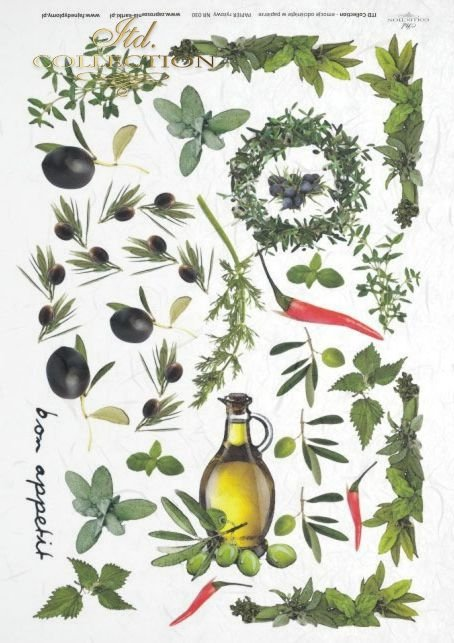 herb, herbs, garlic, paprika, oil,  olives, rosemary, basil, marjoram, bay leaves, R030