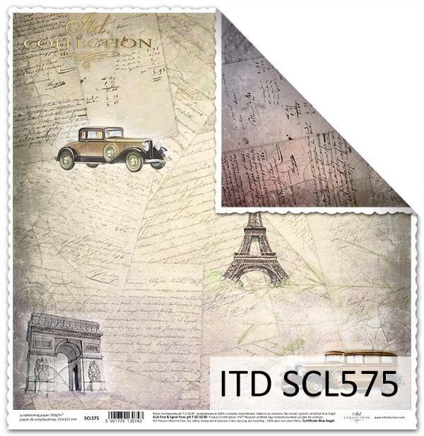 Papier do scrapbookingu - stare listy,znane miejsca, stare auta*Paper for scrapbooking - old letters, familiar places, old cars