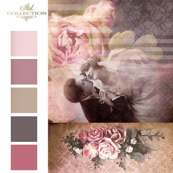 retro-młoda-para-nowożeńcy-zakochani-kochankowie-bukiet-róż-tło-na-ślub-papier-decoupage-ryżowy-R1537