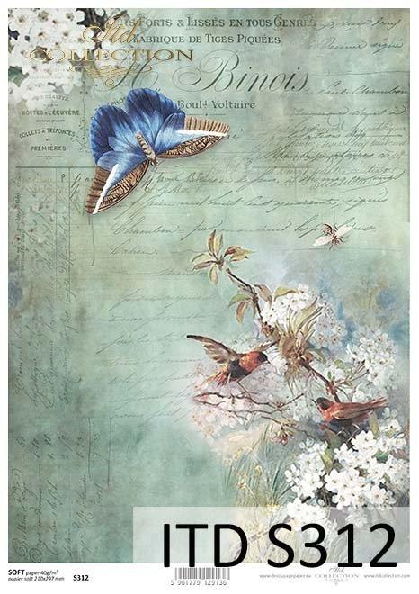 papier decoupage Motyl, ptaki*paper decoupage butterfly, birds