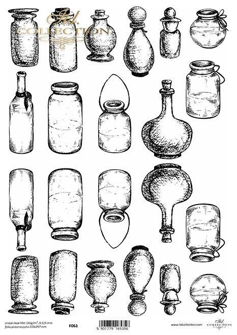 buteleczki, szklane pojemniki*bottles, glass containers*Flaschen, Glasbehälter*botellas, envases de vidrio
