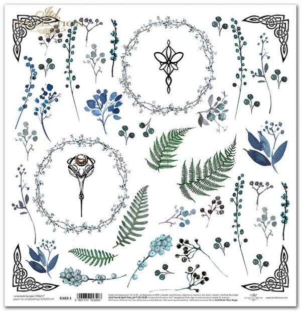 Seria Sekrety - Dolina Elfów. Ornamenty celtyckie, symbole elfickie, paprocie, kwiaty