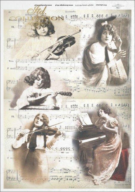 retro, vintage, music, notes, female musicians, women, musical instruments, harp, piano, violin, mandolin, violinist, playing instrument, R373