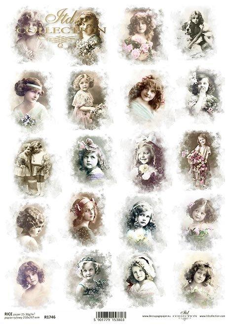 Retro, Vintage, twarze, dzieci, dziewczynki