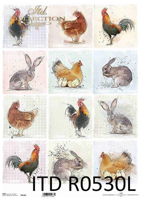 Pastelle, Anhänger, kleine Bilder, Hahn, Huhn, Huhn, Kaninchen, Hase, rund um den Bauernhof*Pasteles, etiquetas, fotos pequeñas, polla, pollo, conejo, liebre, alrededor de la granja*Пастель, бирки, маленькие фотографии, петух, курица, курица, кролик, заяц