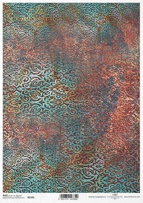 wzor-tapetowy-telko-kolorystyka-rdza-turkus-zloto-granat-Do-decoupage-Papier-ryzowy-decoupage-R1591-2