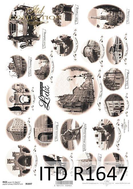 Reispapier Vintage, berühmte Städte - Lodz * Arroz Papel de la vendimia, ciudades famosas - Lodz*Винтажная рисовая бумага, известные города - Лодзь