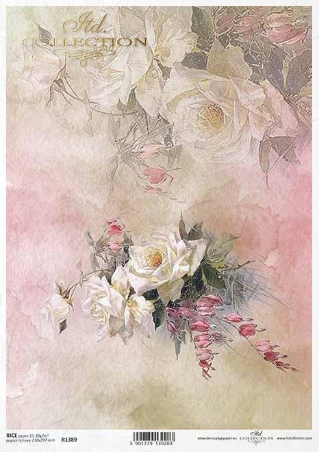 flores de papel decoupage, rosas, nomeolvides*Decoupage Papierblumen, Rosen, Vergissmeinnicht*декупаж бумажные цветы, розы, незабудки