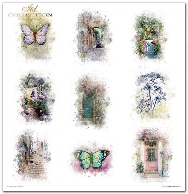 Garden of Dreams-Ogród marzeń, letnie kwiaty, kwiatki do wycinania, furtka do ogrodu, motyle, cytaty, dzbanek z bukietem, zegar, drzewko oliwne, kawiarenka