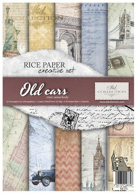 Zestaw kreatywny na papierze ryżowym - Stare samochody * Creative set on rice paper - Old cars