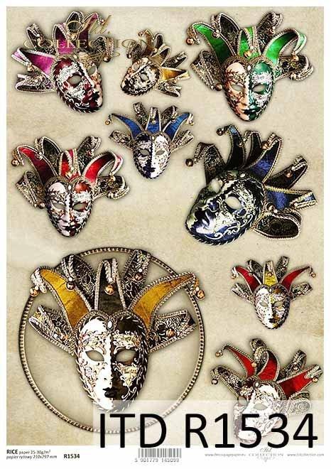 Papier decoupage Maski Weneckie, karnawał, maski, Pierrot*Decoupage paper Venetian masks, carnival, masks, Pierrot