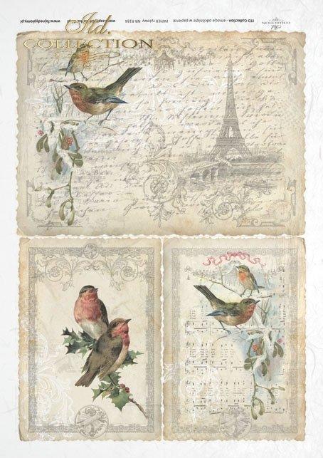 ITD Collection, decoupage, scrapbooking, mixed media, Paris, Eiffel Tower, birds, R0184