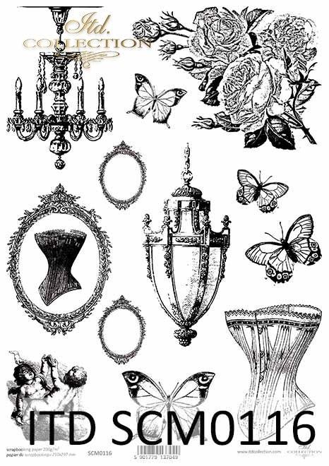Papier scrapbooking Vintage, ramki, amorki, motyle, kwiaty*Vintage scrapbooking paper, frames, cupids, butterflies, flowers