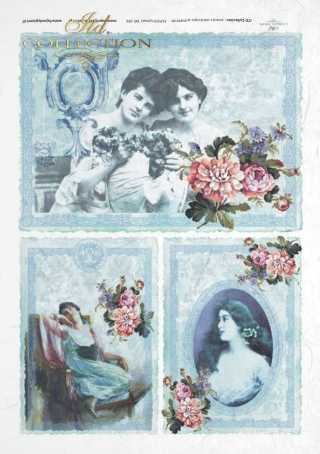 retro, portraits of women on a blue background, beautiful colorful flowers