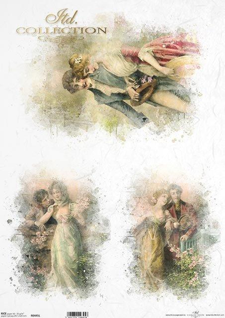 Papier-decoupage-retro-Zakochana-Para-Love-Akwarela*Paper Decoupage-retro-Love-Para-Watercolor