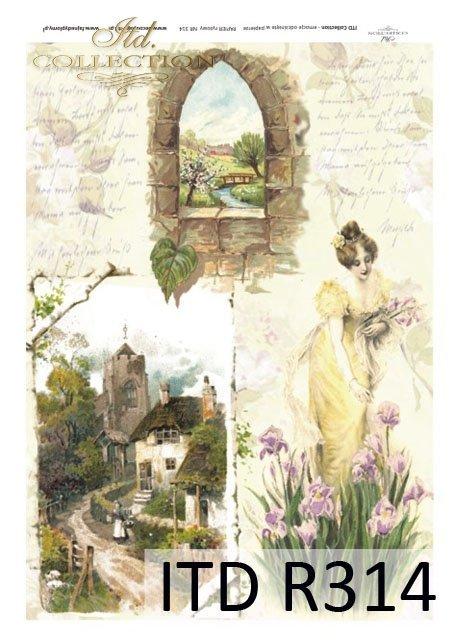 kwiat, kwiaty, irysy, zamek, kobieta, dama, suknia, okno,