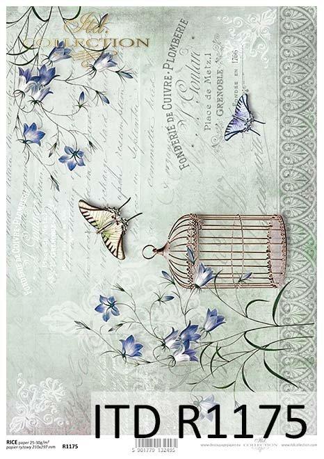 papier decoupage motyle, klatka dla ptaków*Paper decoupage butterflies, bird cage