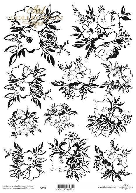 Pergamin do scrapbookingu*czarne grafiki, kwiaty, kwiatki, bukiety do kolorowania