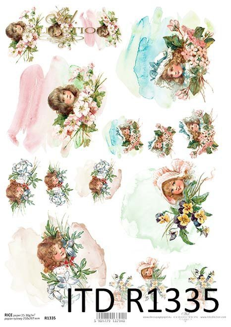 papier ryżowy decoupage akwarele - twarze dzzieci*rice paper decoupage watercolors - faces of children
