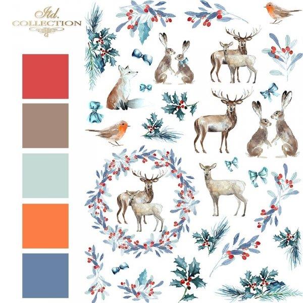 Papier ryżowy - Święta w błękicie 2 * Rice paper - Christmas in blue 2 - colours 1