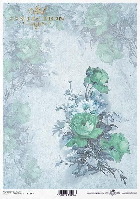 Papel decoupage retro, flores, rosas*Бумага декупаж ретро, цветы, розы*Papier decoupage retro, Blumen, Rosen
