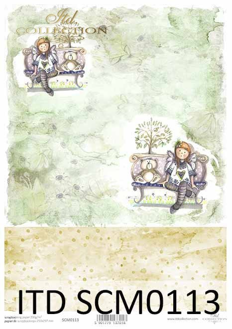 Papier scrapbooking z aniołkami*Scrapbooking paper with angels