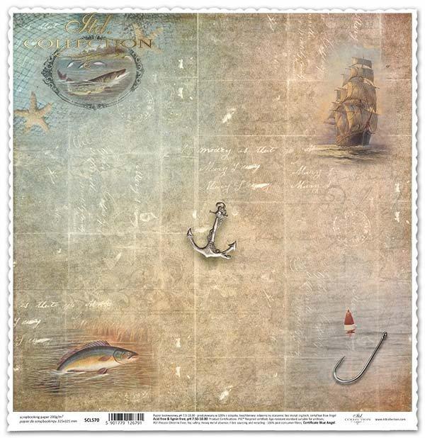 Papel para álbum de recortes - marinos, ancla, redes de pesca*Papier für das Scrapbooking - marine, Anker, Fischernetze