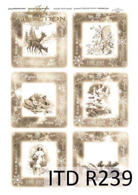 retro, zima, Boże Narodzenie, anioły, anioł, aniołki, aniołek, dzieci, choinka, prezenty, zwierzęta, świąteczne scenki