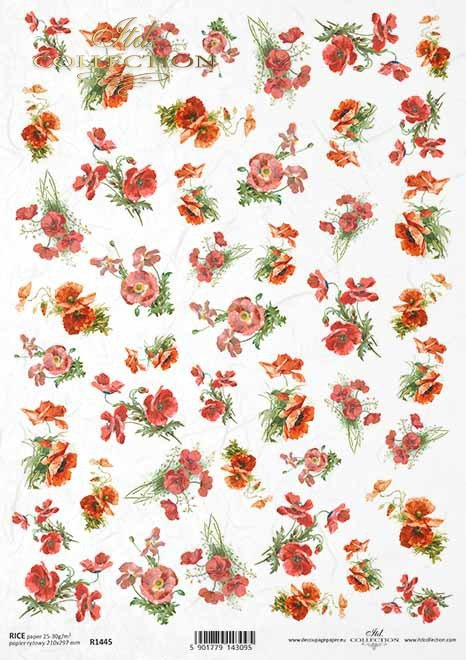 flores de colores, amapolas rojas, pequeños elementos*bunte Blumen, rote Mohnblumen, kleine Elemente*яркие цветы, красные маки, маленькие элементы