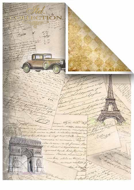 Papiery do scrapbookingu w zestawach - Stare samochody * Papers for scrapbooking in sets - Old cars