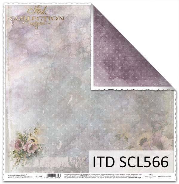 Papier dwustronny do scrapbookingu z kwiatami*Duplex Paper for scrapbooking with flowers