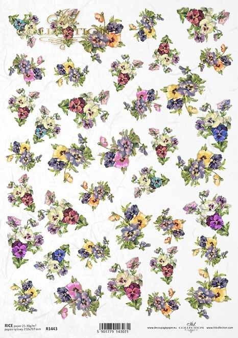 Flores decoupage de papel, artículos pequeños*Papier Decoupage Blumen, kleine Gegenstände*Бумажные декупаж цветы, мелкие предметы