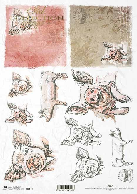 Papel decoupage de Pascua, granja feliz, piggy*Ostern-Decoupagepapier, glücklicher Bauernhof, piggy*Пасхальная бумага в технике декупаж, счастливая ферма, поросенок