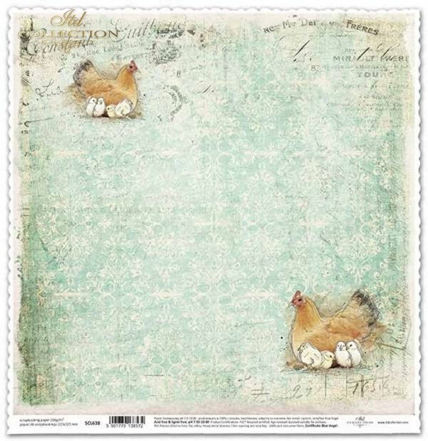 Papel de scrapbooking vintage, pollos con pollos*Scrapbooking Papier der Weinlese, Hühner mit Hühnern*Винтажная бумага для скрапбукинга, цыплята с цыплятами