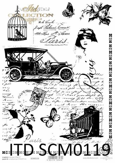 Papier scrapbooking Vintage, stare pismo, samochód, klatka z ptaszkiem*Vintage scrapbooking paper, old letter, car, birdcage