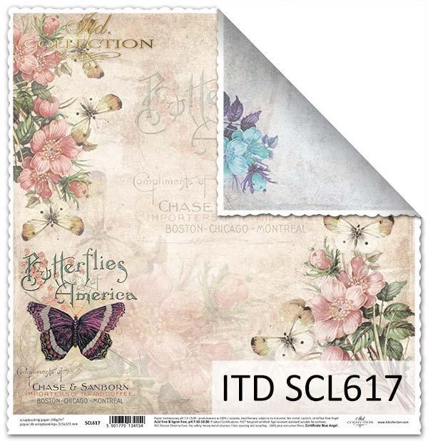 papier do scrapbookingu, motyle, kwiaty, napisy, Vintage*papel para álbum de recortes, mariposas, flores, inscripciones, la vendimia